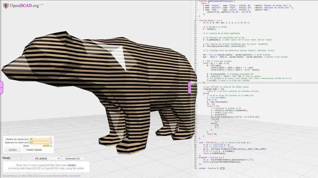 Modèle 3D de sculpture en carton par un cartonniste designer